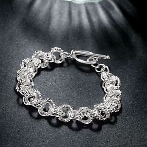 925 Sterling Silver Fashion Jewelry toggle Bracelet .