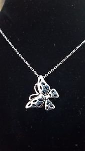 925 Sterling Silver Fashion Jewelry, Butterfly Pendant with Necklace 18,20,22 in