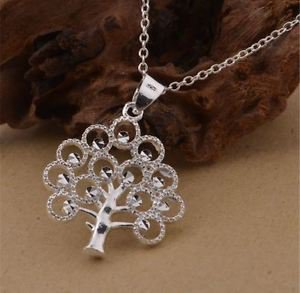 925 Sterling Silver Fashion Jewelry Tree of Life Pendant & Necklace.