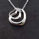 925 Sterling Silver Fashion Jewelry Two Hearts & Chain 18,20,22 in.