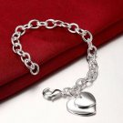 925 Sterling Silver Fashion Jewelry Two Hearts Charm Bracelet 8 in.