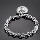 925 Sterling Silver Fashion Jewelry  Bracelet Stereo Heart.