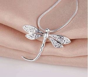 925 Sterling Silver Fashion Jewelry Dragonfly Pendant with Chain.
