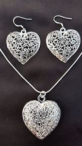 925 Sterling Silver Fashion Jewelry Set,Stereo Heart Necklace & Earrings.