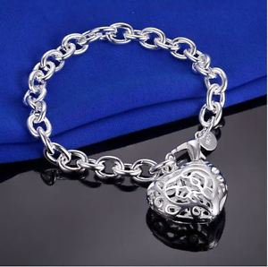 925 Sterling Silver Fashion Jewelry Stereo Heart Bracelet 8 in.