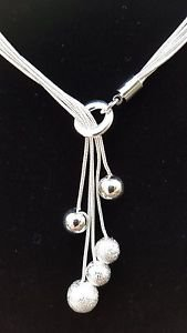 925 Sterling Silver Fashion Jewelry Necklace with Silver Balls pendants.
