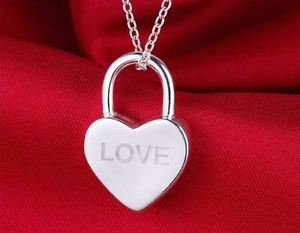 925 Sterling Silver Locked Heart Pendant  LOVE with Chain.