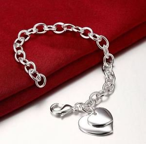 925 Sterling Silver Fashion Jewelry Two Hearts Charm Bracelet .