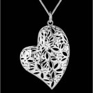 NEW! 925 Silver Fashion Jewelry Pendant Stereo Heart with Necklace 18,20,22 in.