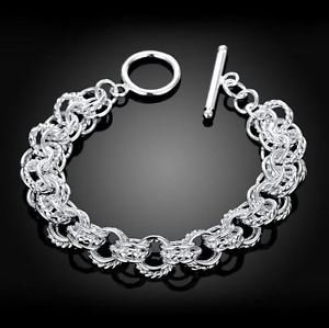 925 Sterling Silver Fashion Jewelry Toggle Bracelet.