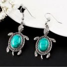 Vintage Silver Tone Fashion Jewelry Turquoise Earrings Turtle.