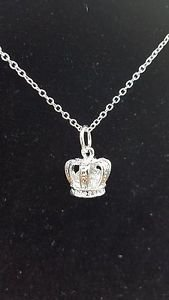 925 Sterling Silver Jewelry Crown Pendant with Chain 18 in.