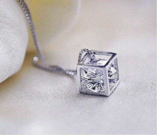 925 Sterling Siver Fashion Jewelry Pendant Cube& Cube Zircon & Chain 18,20,22in.