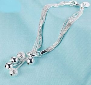 925 Sterling Silver Fashion Jewelry Chain Bracelet with Balls.