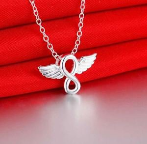 NEW! 925 Sterling Silver Fashion Jewelry Angel Wings & Infinity Pendant & Chain