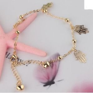 Fashion Foot Jewelry Anklet, Small Hands,18k Gold Plated & Crystals.