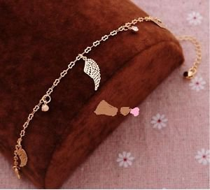Foot Jewelry Charm Anklet, Angel Wings, 18k Gold Plated &Crystals.