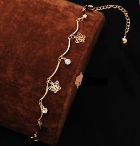 Foot Jewelry Fashion Women 18k Gold Plated Butterfly Anklet & Crystals.