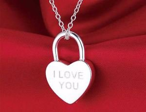925 Sterling Silver Locked Heart Pendant I LOVE YOU & Chain.