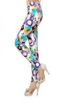 Silky Slim Down Style Leggings - Shiny Embellished, Funky Print Large