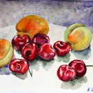 Original watercolor painting fruits still life Sweet cherry and apricot, colorful kitchen wall art