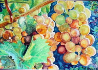 Original watercolor painting, Grapes, fruits, kitchen artwork, wall art, wall decor,