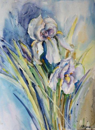 Original watercolor painting, flowers - Iris, floral wall art, decor, blooms, botanical art,