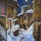 Original pastel painting, winter cityscape, night city, moon, wall art, wall decor,