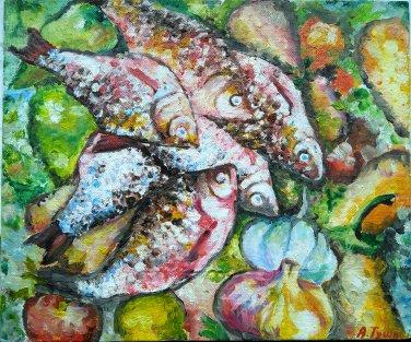 Impressionist still life - Fish. Original oil painting, kitchen artwork, wall decor, wall art