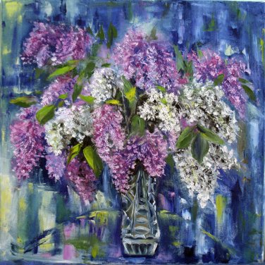Original impressionist oil painting, floral still life Lilac flowers, wall art, wall decor