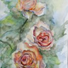 Original watercolour painting, rose gold flowers, original artwork, floral wall art, wall decor