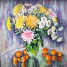 Original oil painting colorful floral still life Chrysanthemum, multi-color wall art