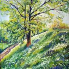 Landscape original oil painting Tree, impressionist stile