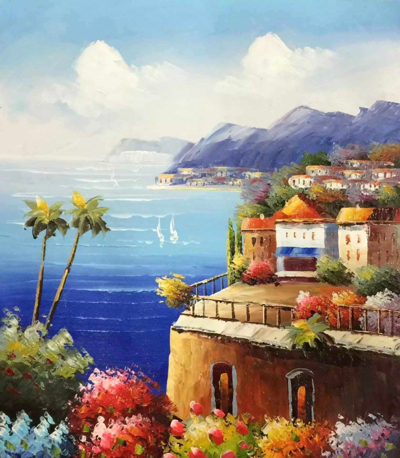 """Mediterranean style Hand painted oil painting on canvas""""Sea view Villa""""20x24CM(7.9""""x9.4"""")Unframed-18"""