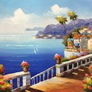 """Mediterranean style Hand painted oil painting on canvas""""Sea view Villa""""20x24CM(7.9""""x9.4"""")Unframed-20"""