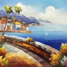 "Mediterranean style Hand painted oil painting on canvas""Sea view Villa""20x24CM(7.9""x9.4"")Unframed-21"