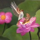 "Simple modern Hand painted oil painting on canvas""Cute bird""50x60CM(19.7""x23.6"")Unframed-04"