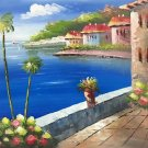 "Hand painted oil painting on canvas""Sea view Villa""50x60CM(19.7""x23.6"")Unframed-27"