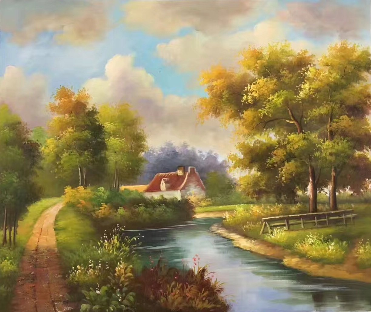 """Hand painted oil painting on canvas""""Image of the countryside""""50x60CM(19.7""""x23.6"""")Unframed-04"""