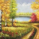 """Nordic style Hand painted oil painting on canvas""""forest""""60x120CM(23.6""""x47.2"""")Unframed-01"""
