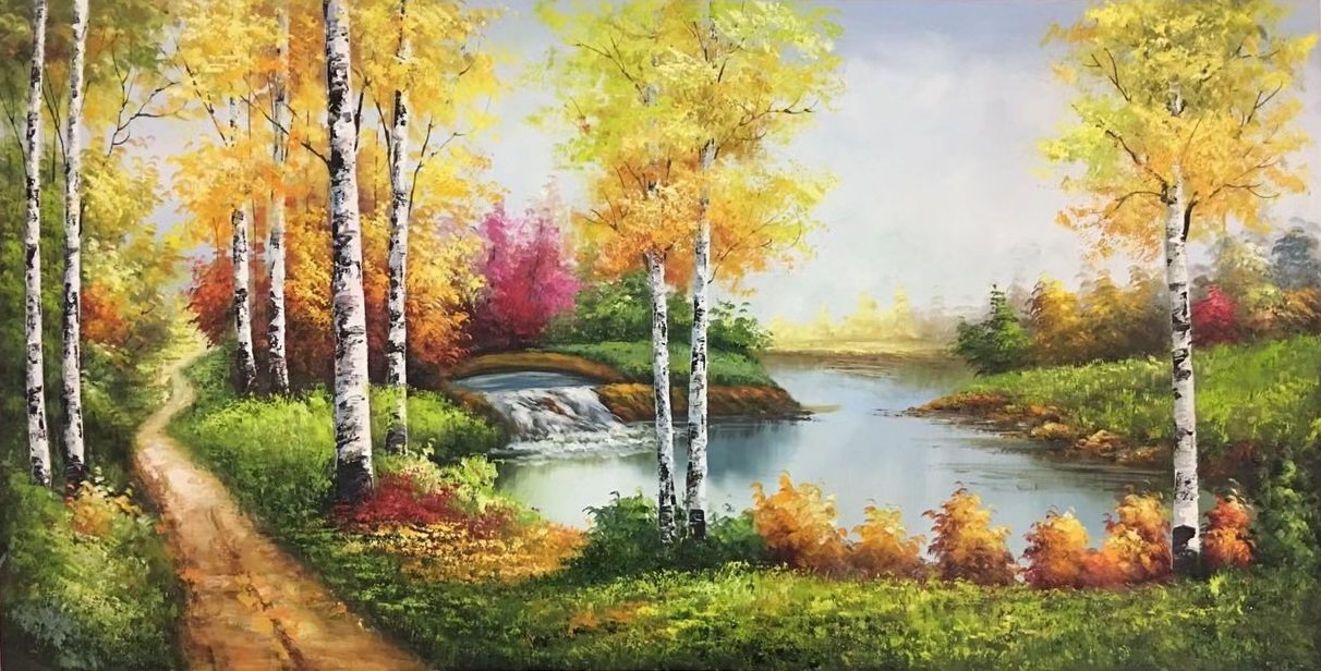 """Nordic style Hand painted oil painting on canvas""""forest""""60x120CM(23.6""""x47.2"""")Unframed-02"""