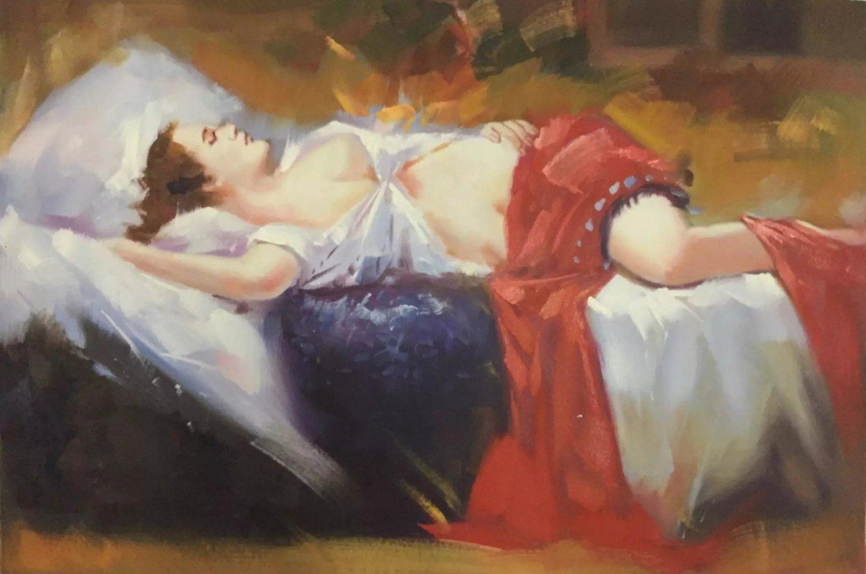"Body Art Hand painted oil painting on canvas""sleeping Beauty""60x90CM  (23.6""x35.4"")Unframed-02"