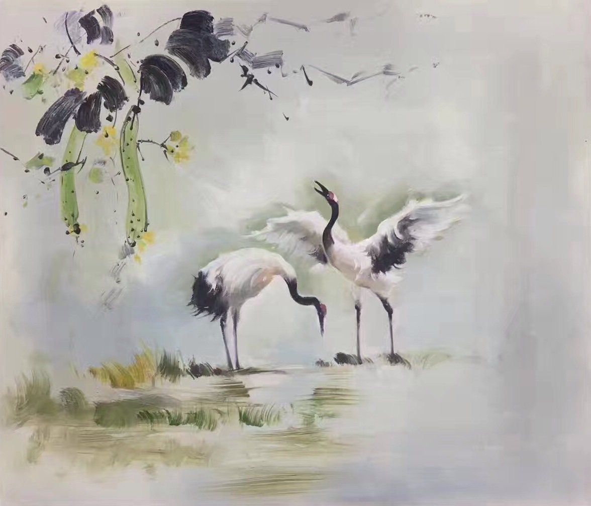 """Chinese style Hand painted oil painting on canvas""""Red-crowned crane""""50x60CM(19.7""""x23.6"""")Unframed-01"""