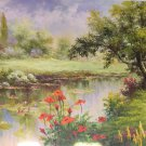 """American style Hand painted oil painting on canvas""""Private garden""""70x180CM(27.6""""x70.9"""")Unframed-13"""