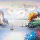 """Hand painted oil painting on canvas""""Mountains and rivers unlimited""""50x150CM(19.7""""x59.1"""")Unframed-02"""