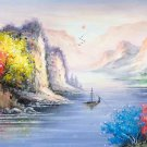 "Hand painted oil painting on canvas""Mountains and rivers unlimited""50x150CM(19.7""x59.1"")Unframed-03"