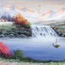 """Hand painted oil painting on canvas""""Mountains and rivers unlimited""""50x150CM(19.7""""x59.1"""")Unframed-09"""