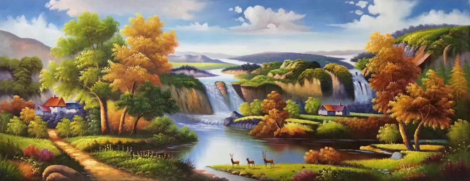 """American style Hand painted oil painting on canvas""""Creek""""70x180CM(27.6""""x70.9"""")Unframed-28"""