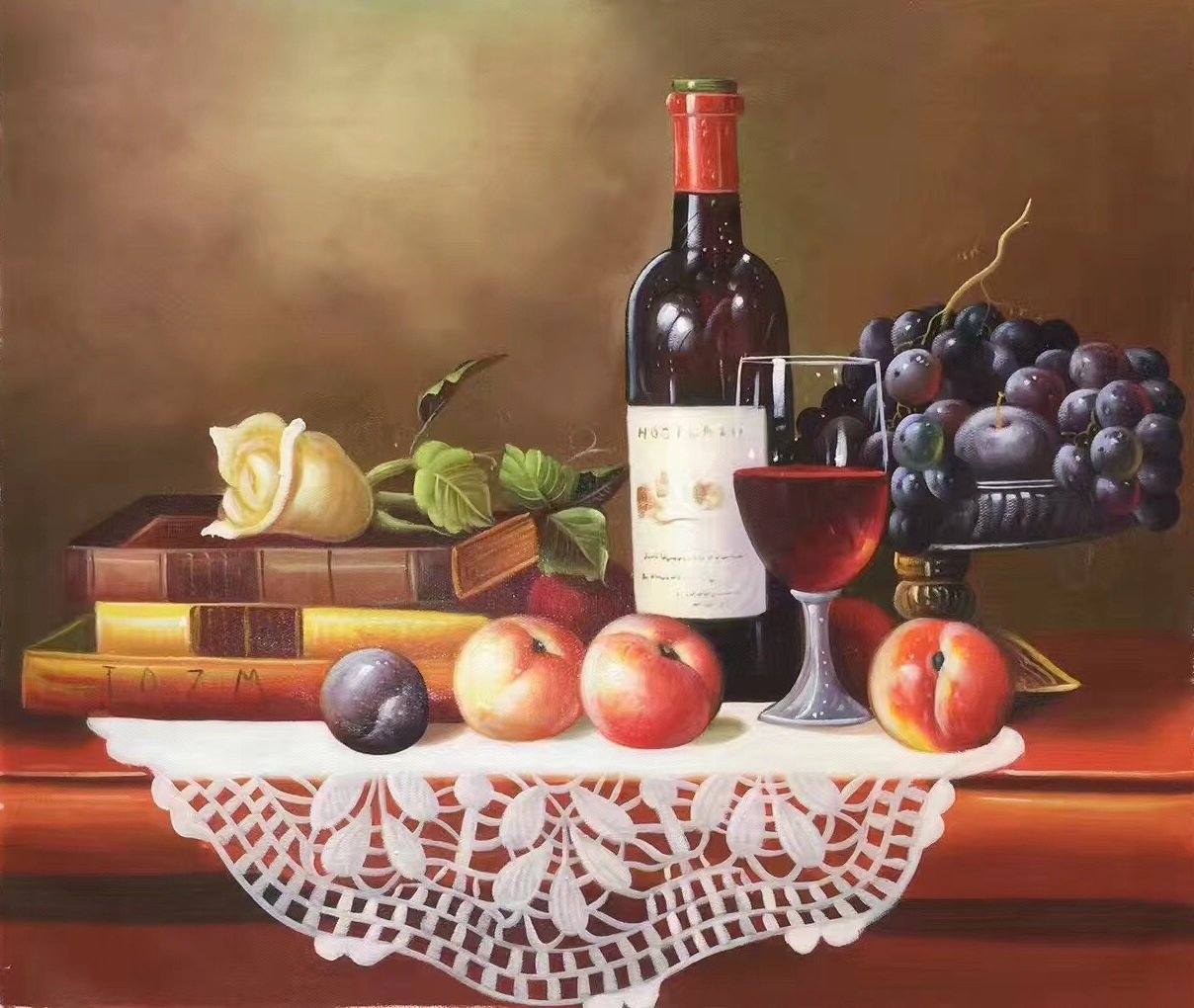 "handpainted oil painting on canvas Art Decor""Grape wine""50x60CM(19.7""x23.6"")Unframed-42"