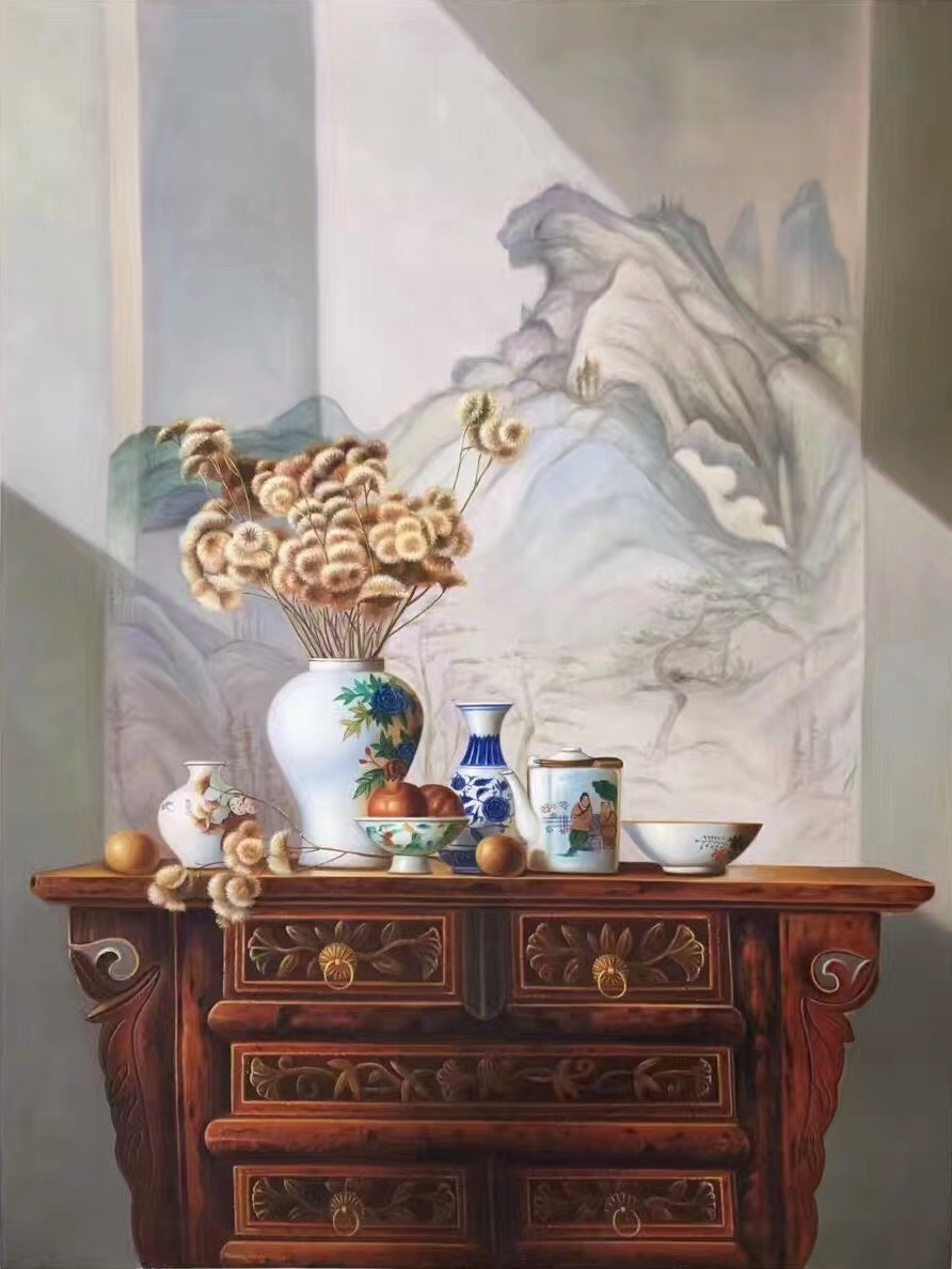 """Chinese style Hand painted oil painting on canvas""""ceramics""""75x100CM(29.5""""x39.4"""")Unframed-06"""